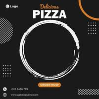 modello di social media pizza deliziosa nera, bianca e arancione