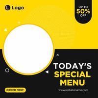 modello di social media menu speciale giallo e nero