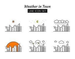 città meteo linea icona set di simboli