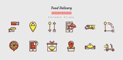 set di simboli icona di consegna cibo linea di colore pieno vettore