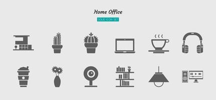 set di simboli icona home office grigio solido vettore