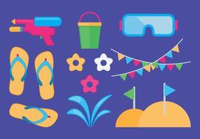Set di icone dell'attrezzatura di Songkran vettore