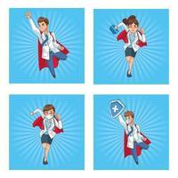 personaggi dei fumetti del personale super medico vettore
