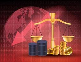 mercato del prezzo del petrolio con barili e bilancia vettore