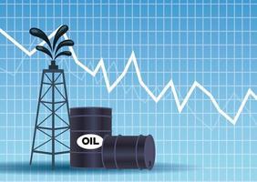 mercato del prezzo del petrolio con barili e torre vettore