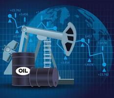 mercato del prezzo del petrolio con icone di barili vettore