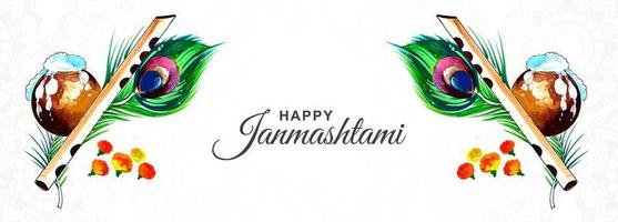 felice banner del festival creativo di krishna janmashtami