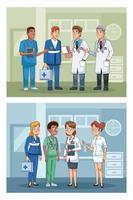 personale di medici professionisti in personaggi ospedalieri vettore