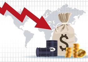 mercato dei prezzi del petrolio con barili e monete borsa di denaro vettore