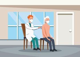caratteri di persona anziana esami medici vettore