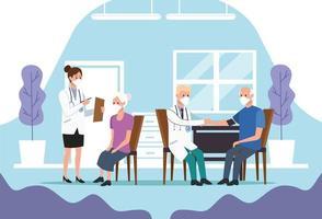 personale medico che protegge gli anziani vettore