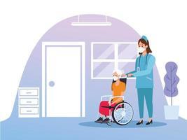 infermiera che protegge la donna anziana vettore