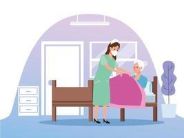 infermiera che protegge i caratteri della persona della donna anziana vettore
