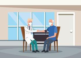 medico esaminando personaggi di persone anziane