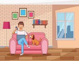 uomo ufficio a casa con un cane