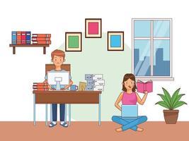 coppia giovane ufficio a casa