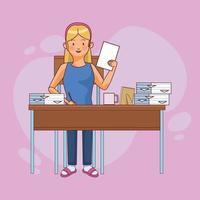 carattere della donna che lavora a casa con i documenti