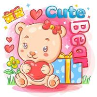simpatico orso femmina innamorato che tiene i regali di San Valentino
