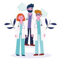 gruppo di medici con fogliame e nuvole