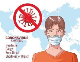 infografica di coronavirus con giovane uomo che utilizza la maschera