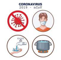 infografica di coronavirus con icone di set di prevenzione