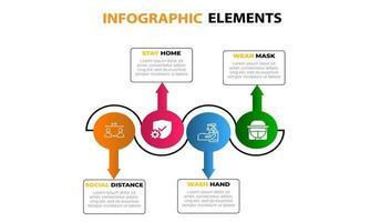 set di elementi 4 info-grafiche colorate vivaci vettore