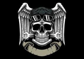 testa teschio meccanico con ali e emblema banner vettore