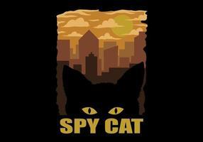silhouette faccia di gatto contro il design del gatto spia della città vettore