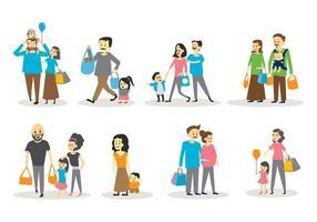 Set gratuito di shopping per famiglie vettore