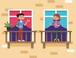 giovane coppia sulla scena del balcone di casa