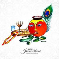 shree krishna faccia sullo sfondo della carta janmashtami pentola