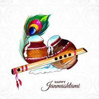 felice janmashtami che rovescia il fondo della cartolina d'auguri del porridge