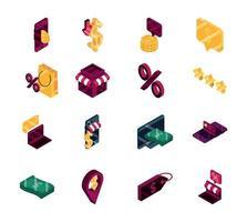 shopping online e collezione di icone isometriche di e-commerce