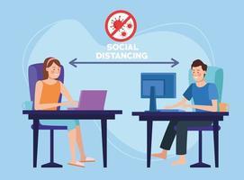 coppia che lavora da casa con allontanamento sociale vettore