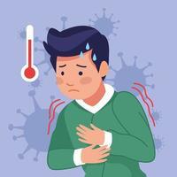 giovane con febbre a causa di covid19