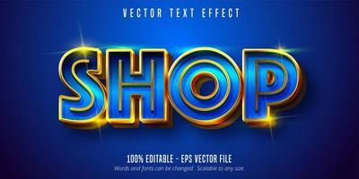 testo del negozio, effetto di testo blu e oro lucido