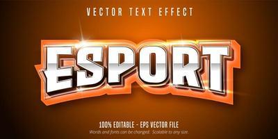 testo e-sport arancione, effetto di testo in stile sport