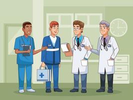 personale di medici professionisti maschi vettore