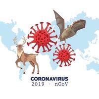 infografica di coronavirus con mappa del mondo e animali