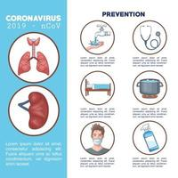 infografica di coronavirus con icone di prevenzione