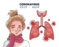infografica di coronavirus con donna malata e polmoni