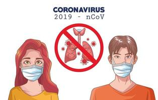 infografica di coronavirus con persone che usano maschera e polmoni