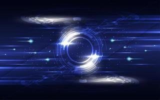 concetto di comunicazione hi-tech blu e bianco incandescente vettore