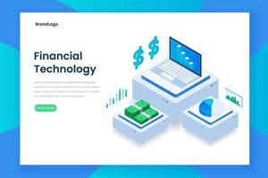 concetto di tecnologia finanziaria isometrica di colore piatto