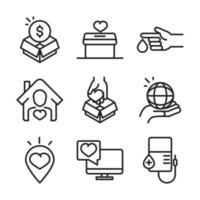 raccolta di icone di donazione e raccolta fondi di beneficenza