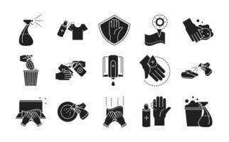 set di icone in stile silhouette di prevenzione e disinfezione