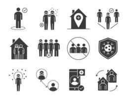 set di pittogrammi silhouette di distanziamento sociale e controllo delle infezioni