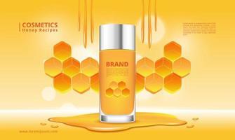 prodotto cosmetico al miele e design a nido d'ape vettore