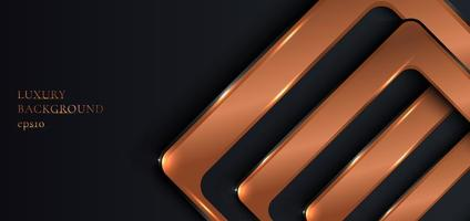quadrati arrotondati di rame metallico lucido sul nero vettore