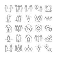 set di icone di coronavirus e distanza sociale vettore